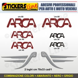 Kit completo 8 adesivi camper ARCA loghi stickers caravan roulotte decal M.1