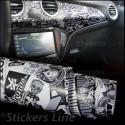Pellicola adesiva stickers bomb bianco e nero M5 car wrapping moto auto sticker bomb monocromatico stickersbomb