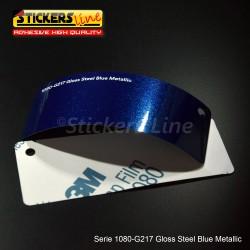 Pellicola adesiva 3M blu acciaio metallizzato lucido serie 1080 cod. G217 adesivo cast film metallic blu car wrapping auto moto
