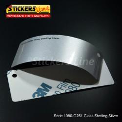 Pellicola adesiva 3M argento metallizzato lucido serie 1080 cod. G251 adesivo cast film metallic silver car wrapping auto moto