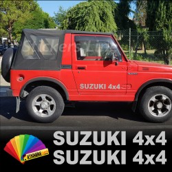 2 Adesivi portiera fuoristrada SUZUKI 4X4 cm70 Santana Samurai Vitara off road