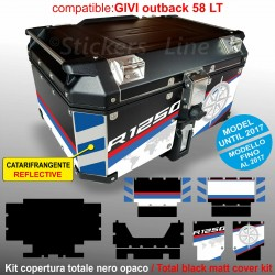 Kit COMPLETO adesivi COMPATIBILI bauletto top case GIVI 58 LT 2017 x BMW R1250HP