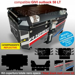 Kit COMPLETO adesivi COMPATIBILI bauletto top case GIVI 58 LT 2017 x BMW R1250GS