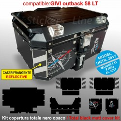 Kit adesivi COMPATIBILI bauletto top case GIVI 58 LT 2017 BMW R1200 R1250 GS T1