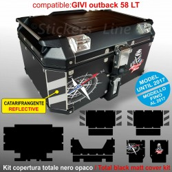 Kit adesivi COMPATIBILI bauletto top case GIVI 58 LT 2017 BMW R1200 R1250 GS T2