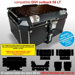 Kit adesivi bauletto top case GIVI 58 LT NERO ANTIGRAFFIO total black fino 2017