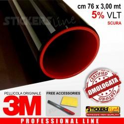 Pellicola Oscuramento Vetri Auto Black Shade 3M™ BS 5% omologata cm 76 x 3,00 mt