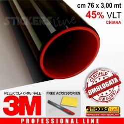 Pellicola oscurante Oscuramento Vetri Auto Black Shade 3M™ BS45% omologata cm 76 x 3,00 mt